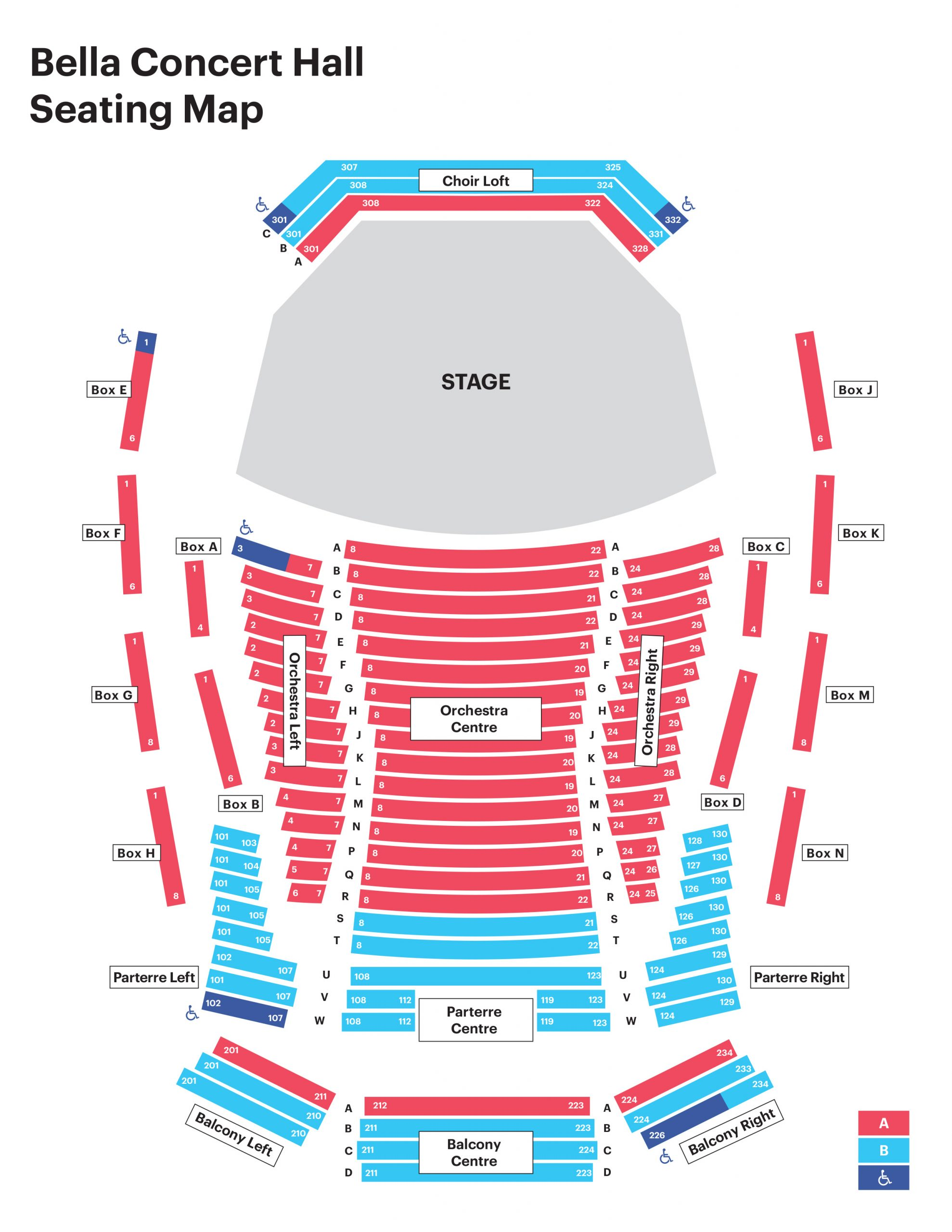 Bella concert hall seating map